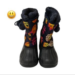 Girls Emoji Fleece Lined Winter Boots, Size 3